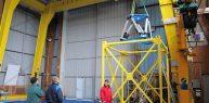 SYMETRIE Hexapode MISTRAL an cours d'installation au bassin d'essais de l'Ifremer de Brest