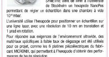 Gazette du Vide NanoPos hexapode UHV