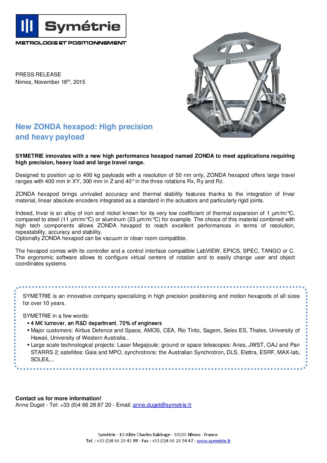 New ZONDA hexapod  High precision and heavy payload - November 2015 -  Symetrie 8623a3fb6747