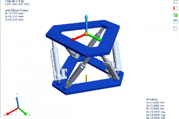 HexaSym simulator includes a 3D visualization, which makes possible to see how the hexapod moves according to the commanded positions