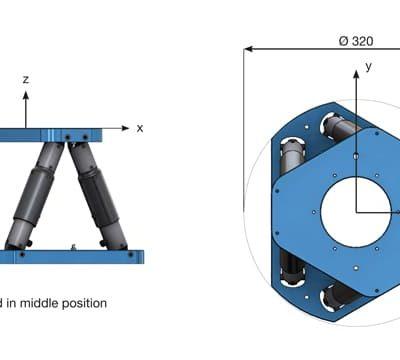 Dimensions de l'hexapode PUNA